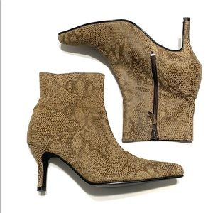 Pamela McCoy Snakeskin Brown Ankle Heel Booties